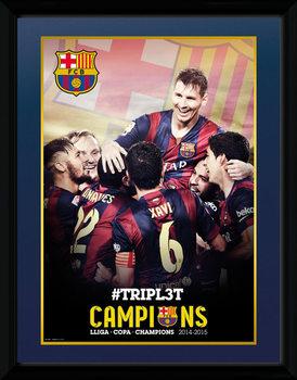 Barcelona - Triple Champions 15 uokvireni plakat - pleksi