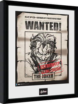 Uramljeni poster Batman Comic - Joker Wanted