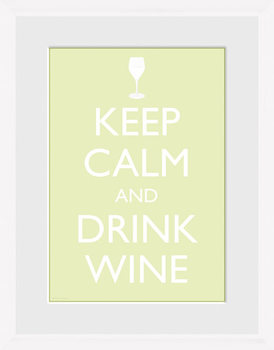 Keep Calm - Wine (White) Uramljeni poster