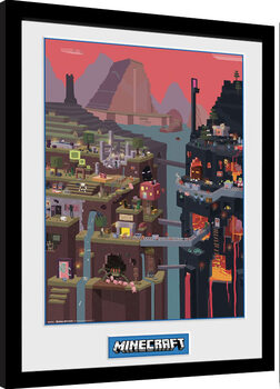 Uramljeni poster Minecraft - World