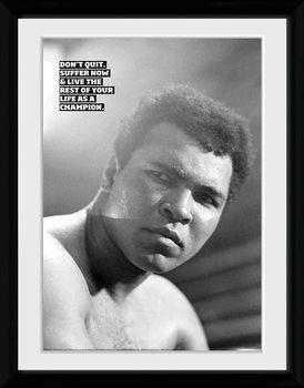 Muhammad Ali - Don't Quit uokvireni plakat - pleksi