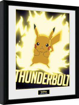 Uramljeni poster Pokemon - Thunder Bolt Pikachu