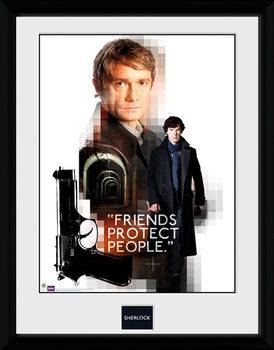 Sherlock - Friends Protect uokvireni plakat - pleksi