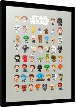 Uokvireni poster Star Wars - 8-Bit Characters