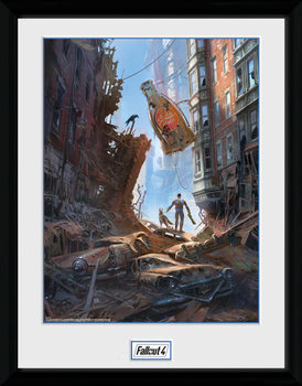 Fallout 4 - Street Scene Uokvireni plakat - pleksi