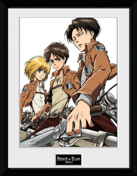Attack On Titan - Trio uokvirjen plakat-pleksi