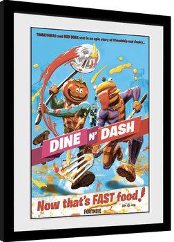 Uokvirjeni plakat Fortnite - Dine n Dash
