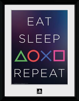 Uokvirjeni plakat Playstation - Eat Sleep Repeat