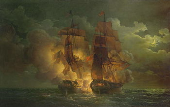 Vászonkép Battle Between the French Frigate 'Arethuse' and the English Frigate 'Amelia' in View of the Islands of Loz, 7th February 1813