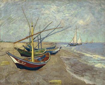 Vászonkép Fishing Boats on the Beach at Saintes-Maries-de-la-Mer