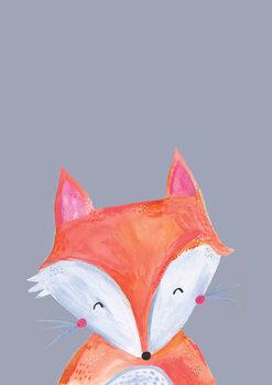 Vászonkép Woodland fox on grey