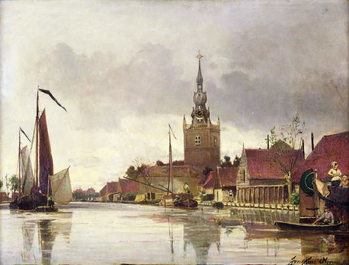 Vászonkép View of Overschie near Rotterdam, 1856