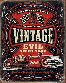 VINTAGE EVIL - Hell Bent Rods Metalen Wandplaat