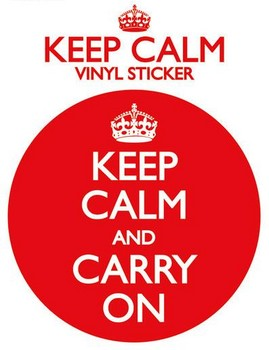 KEEP CALM AND CARRY ON Vinyl klistermærker