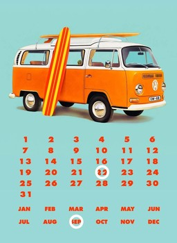 VW BAY WINDOW KOMBI CALENDAR Metalen Wandplaat