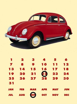 VW BEETLE CALENDAR Metalen Wandplaat