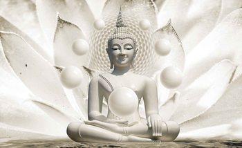 Buddha Zen Sphères Fleurs 3D Poster Mural