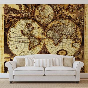 Carte du Monde Vintage Poster Mural