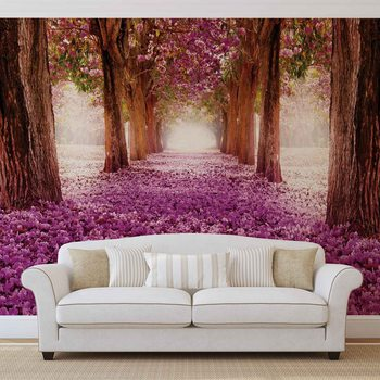 Chemin dans les Arbres en Fleur Rose Poster Mural