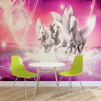 Cheval à ailes Pegasus Rose Poster Mural