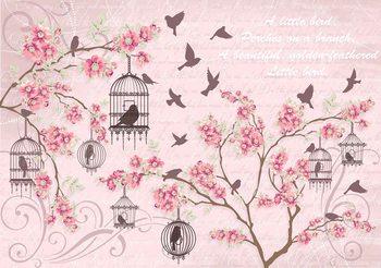 Oiseaux Cerisiers en Fleurs Roses Poster Mural