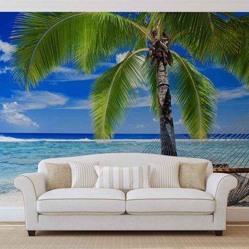 Plage de sable et hamac dans les palmiers Poster Mural