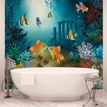 Poisson et coraux dans la mer Poster Mural