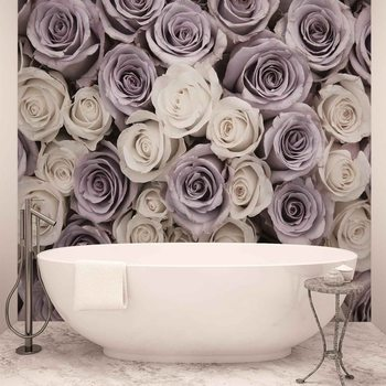 Roses Fleurs Blanches et Violettes Poster Mural