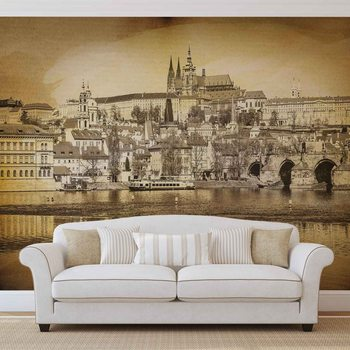 Ville Pont de Prague Cathédrale de la rivière Sépia Poster Mural