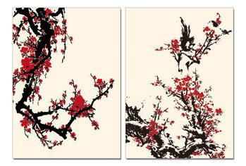 Wandbilder Modern Design - Red Blossoms