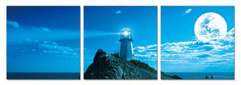 Wandbilder Moon over lighthouse