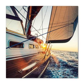 Wandbilder Sailing boat during sunset