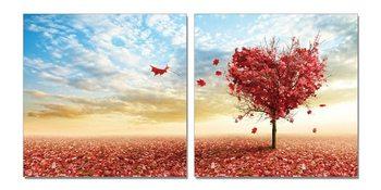 Wandbilder Tree blooming hearts