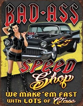 Metalen wandbord Bad Ass Speed Shop
