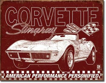 Metalen wandbord Corvette - 69 StingRay