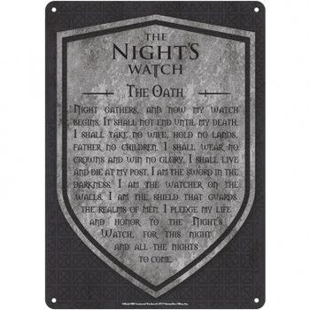 Metalen wandbord Game Of Thrones - Nights Watch