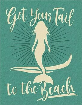 Metalen wandbord Get Your Tail - Mermaid