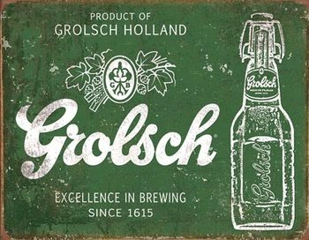Metalen wandbord Grolsch Beer - Excellence