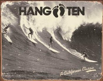 Metalen wandbord HANG TEN - california classic