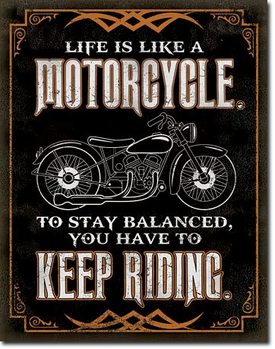 Metalen wandbord Life is Life - Motorcycle