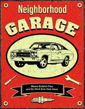 Metalen wandbord Neighborhood Garage