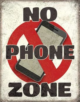 Metalen wandbord No Phone Zone