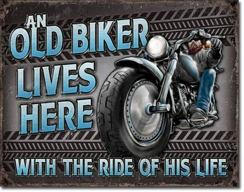 Metalen wandbord Old Biker - Ride