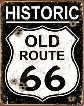 Metalen wandbord OLD ROUTE 66 - Weathered