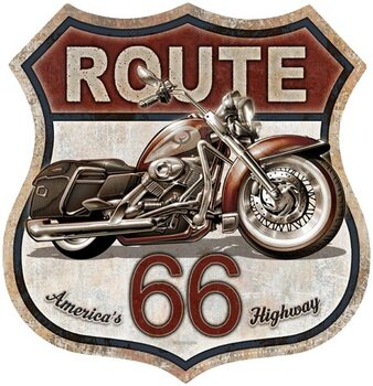 Metalen wandbord Rout 66 Bike