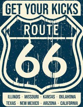 Metalen wandbord Route 66 - States