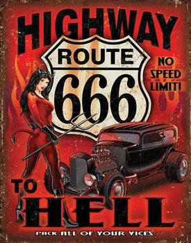 Metalen wandbord Route 666 - Highway to Hell