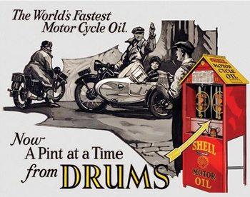 Metalen wandbord Shell - Motorcycle Oil