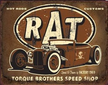 Metalen wandbord TORQUE - Rat Rod