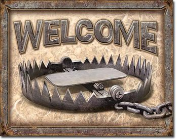 Welcome - Bear Trap Metalen Wandplaat